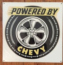 Powered by Chevy Chevrolet Power Garage Hot Rod Malibu Vintage Poster Metal Sign