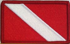 SCUBA Flag Embroidered Iron-On Patch Diver  Emblem Red Border #11
