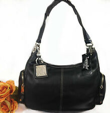 NWT Tignanello Perfect Ten Side Zip Pocket Pebble Leather  Hobo Handbag Black