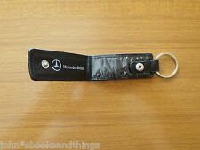 PORTACHIAVI PELLE NERO MERCEDES BENZ ORIGINALE VINTAGE BLACK CAR KEY HOLDER