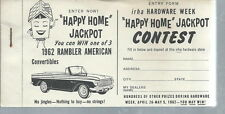 AD-028 - 1962 IRHA Hardware Week Happy Home Jackpot Entry Forms Rambler American