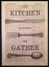 Vintage Cutlery Print Dictionary Book Page Wall Art Picture Kitchen Fork Knife