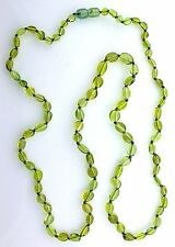 Natural Oval Green Baltic Amber 30 Inch Gemstone Gem Stone Necklace With Clasp