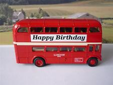 Happy Birthday PERSONALISED NAME Red London Diecast Double Decker Boys Toy Bus
