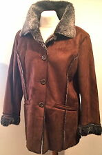 NWT QUALITY RUST FAUX SUEDE/SHEARLING/DARK FUR LONG JACKET-SHORT COAT BUST 42""