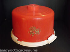 Vtg Orange White Floral Accent Locklift Plastic Cake Cover Carrier Server MCM