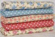5 HALF FAT QUARTER bundle pink blue Floral cotton fabric vintage style
