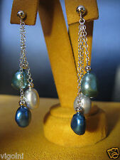 PEARL EARRINGS MULTI COLOR BLUE MOON WHITE CHAIN SILVER GIFT HONORA MOTHER'S DAY