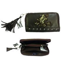 MINNIE portafoglio a soffietto con zip in eco-pelle marrone con borchie 18 cm
