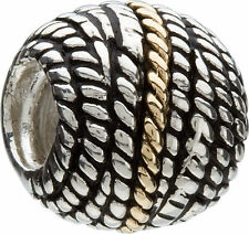 Authentic Chamilia KB-2 14k Gold Sterling Silver NEW W/BOX GOLD ROPE Bead Charm