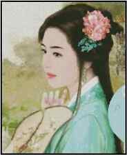 Counted Cross Stitch ORIENTAL LADY with Embroidery Hoop - COMPLETE KIT #25-117