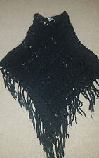 lovely black woolen knitted ladies poncho