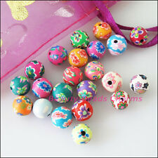 25Pcs Mixed Handmade Polymer Fimo Clay Round Spacer Beads Charms 8mm