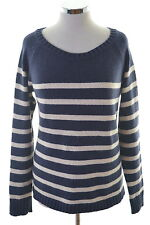 Fat Face Womens Jumper Sweater Size 16 Large Navy Blue Stripes Wool