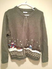 """Vintage Tacky Ugly Christmas Sweater - XL Green """"Snowman Winter Land"""" Jumper !!!"""