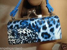 "Blue Animal Print Purse Snakeskin Texture 18"" Dolls American Girl Doll Clothes"