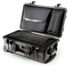 Black Pelican 1510 LOC Overnight Case. Lid sleeve / pouch & 2 TSA locks.