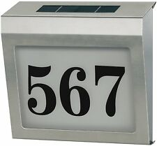 Quace Solar Powered House Address Number Plate with backlit LED