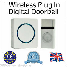Modern LED Door Bell UK Plug IN Wireless Cordless Digital Chime Doorbell 100M