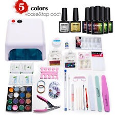 Mondelones 36W Curing Lamp KIT Pick 5 Colours UV Gel Nail Polish Base Top Coat