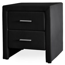 CORIUM Night table 2 Drawers Black imitation leather Bedside table Side table