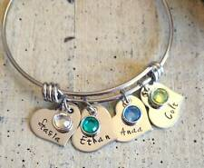 Child's 4 Name Birthstone charm bangle Bracelet Custom Personalized Mother Mom
