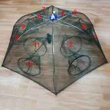 Folding 6 Sides 12 Holes Nylon Catch Shrimp Crab Fish Cast Trap Cage Fishing Net