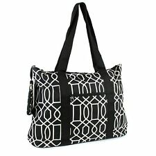 Canvas Tote Bag Weekender Tennis Gym Diaper Teacher Nurse Handbag Purse Black