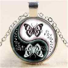 Ying And Yang Butterfly Cabochon Glass Tibet Silver Chain Pendant Necklace#78H