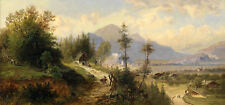 "Oil painting sunset summer landscape low price for sell don't miss it 24""x72"""
