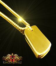 MENS WOMENS 14K TRIPLE GOLD DIPPED DOG TAG PENDANT CHARM BALL CHAIN SET