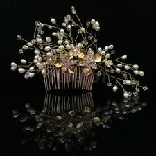 Wedding Bridal Golden Flower Pearl Hair Clip Comb Headpiece Hair Accessories