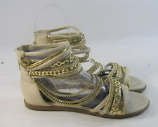 Summer NUDE/Gold open toe NEW WOMEN FASHION ankle strap Gladiator SANDALS SIZE 8