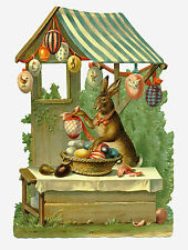 Hase am Marktstand mit bunten Ostereiern Viktorianische Aufstell-Schmuckkarte