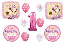1ST BIRTHDAY MINNIE MOUSE Baby party Balloons Decoration Supplies First Pink