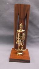 solid walnut backdrop award trophy cast metal vintage fireman