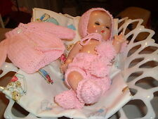 "DARLING PINK POM POM HAND-KNIT SET MADE FOR PATSY BABYETTE 9"" DOLL"