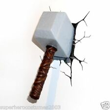 The Avengers Mighty Thor Hammer 3D Deco LED Wall Light Marvel Comics NIB