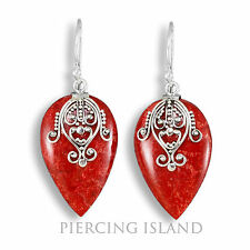 Edle Ohrringe Hänger Silber Schmuck Rote Koralle Silver Earrings Coral SER227