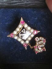Nice 10k Solid Gold Delta Tau Delta Sweetheart Fraternity Pin w/Chapter Guard