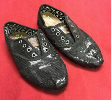 TOMS Womens Black  Sequined Shoes 330911 size 8w