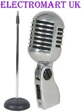 RETRO STYLE CHROME MIC MICROPHONE AND STAND CAST BASE