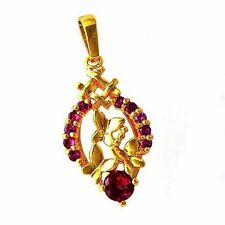 Novelty Red Ruby Yellow Gold Filled Butterfly Flower Womens Pendant