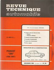 REVUE TECHNIQUE AUTOMOBILE 271 RTA 1968 PEUGEOT 204 + COUPE CABRIOLET 1966 1969