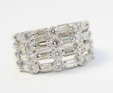 18k White Gold Baguette and Round Diamond Ladies Cocktail Band Ring