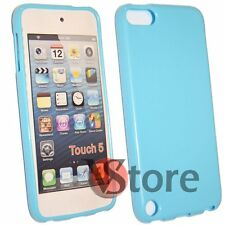 Cover Custodia Per iPod 5 Azzurro Silicone Case Gel + Pellicola Salva Display