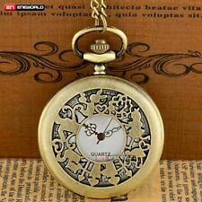 Antique Alice In Wonderland Theme Rabbit Pocket Watch Quartz Necklace Chain UK