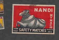 Ancienne étiquette  de paquet  allumettes  Inde   FI74  Nandi Vache  5