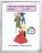 "Fits Barbie Dolls Crochet Wardrobe Doll Pattern 11.5"" mail order 7386"