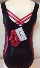 Gymnastic leotard Black And Pomegranate girls size 30